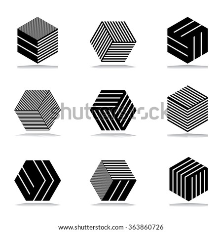 Design elements set. Abstract geometric icons. - stock vector