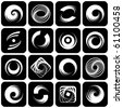 Design elements set. Abstract icons with spiral motion. Stencils. Vector illustration. - stock vector