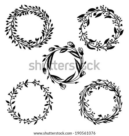 Design elements set, floral frame and vignette - stock vector
