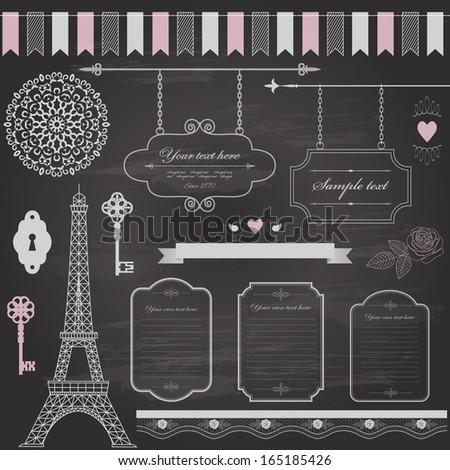 Design elements set on retro chalkboard background  - frame, sign board, eiffel tower, ribbon, rose, birds, antique keys, garland, lace, doily.  Vector illustration. - stock vector