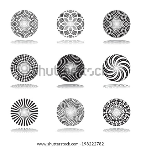 Design elements set. Patterns in circle shape. Abstract icons. Vector art. - stock vector