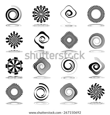 Design elements set. Spiral and rotation abstract icons. Vector art. - stock vector