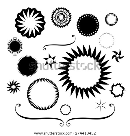 Design elements vector. Black and white borders and frame designs. Victorian designs in round star and square shapes - stock vector