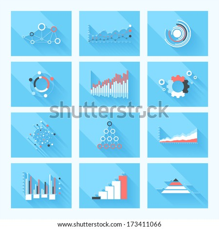 Design elements. Vector illustration of business infographics. Set of 3D infographics with long shadow. - stock vector
