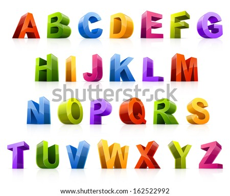 Design elements. Vector illustration of colorful three dimensional letters. - stock vector