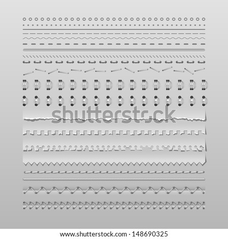 Design elements vector set of high detailed stitches and dividers