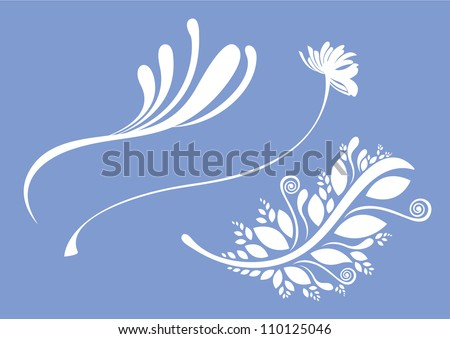 Design elements with beautiful floral patterns- This floral design elements can be used for wallpaper, card design, web page background, surface textures and pattern fills - stock vector