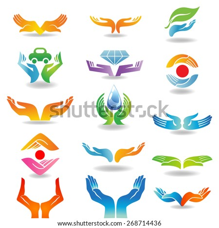 Design elements with open hands which hold and protect - stock vector