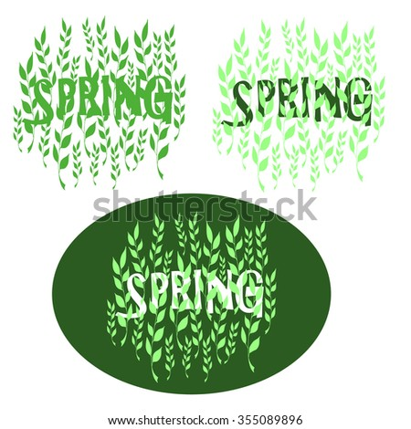 Design elements with spring theme with soothing pastel colors. Spring, shoots of grass and the first green leaves. - stock vector