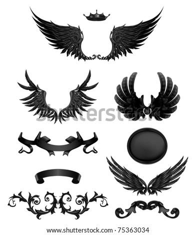 Design elements with wings, high quality 10eps - stock vector