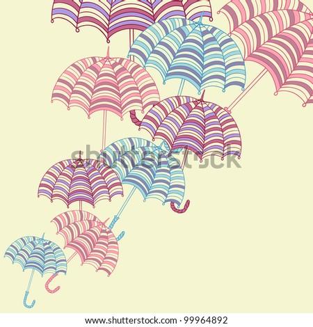 Design ellement with cute umbrellas. Vector illustration. - stock vector