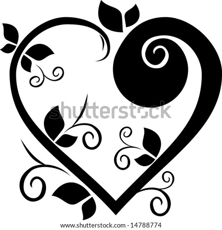 Design floral heart tattoo - stock vector
