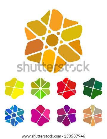 Design flower logo element. Colorful abstract pattern, icon set. You can use in the flower shop, jewelry, farm, leisure club, and other commercial image. - stock vector