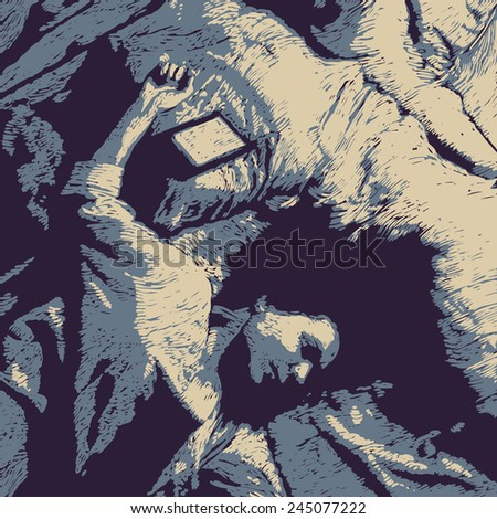 Design for detective story poster with girl on the bed with an e-book. linocut style. vector illustration - stock vector