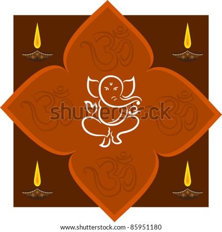 Design For Diwali Ganesha Card - stock vector