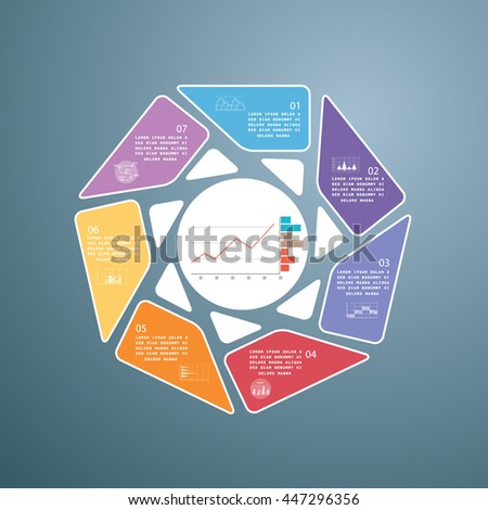 Design for presentation, business concept with 7 steps