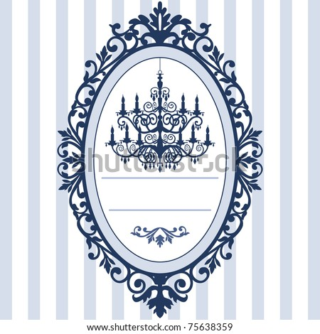 Design for wedding cards with vintage, antique oval picture frame and baroque chandelier silhouette, full scalable vector graphic, change the colors as you like. - stock vector