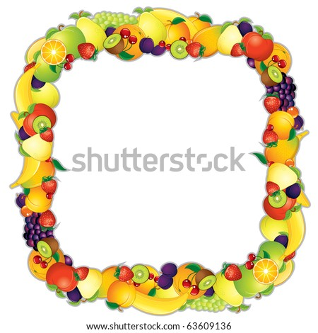 Design Fruit Frame - detailed vector, all elements separated and grouped - inc ripe apples, plums, berries, pears, peaches and more... - stock vector