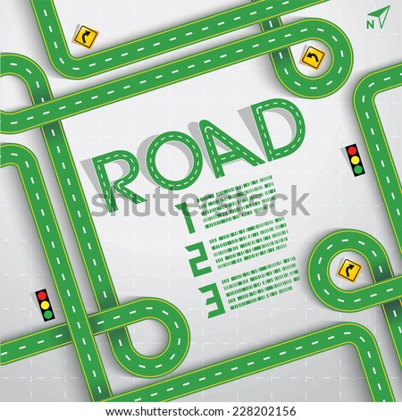 Design Green Road & Street Frame and Number, Travel Concept, Vector EPS10 - stock vector