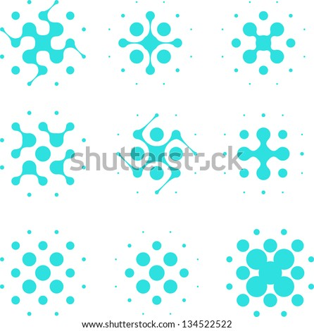 Design halftone circle cell element. Abstract water molecule vector logo template set.You can use in the media, mobile, water ,biology, chemistry, science and other commercial image. - stock vector