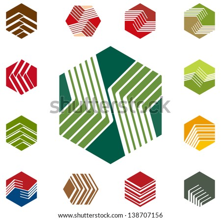 Design hexagon vector logo template. Icon set. Colorful pattern. You can use in the construction, factories, communications, electronics, or creative design concepts - stock vector