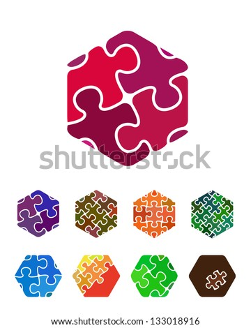 Design hexagonal jigsaw logo vector element. Abstract hexagonal pattern. Colorful icons set. You can use in the social media, mobile, community website, construction, dice and other commercial image. - stock vector