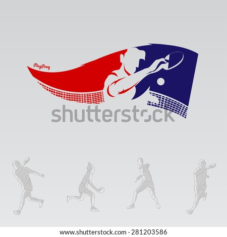 Design Illustration Concepts Flag of Tennis Player Playing Ping Pong with Style Typographic. Vector Illustration. Concepts Web Banner and Printed Materials. Trendy and Beautiful  - stock vector