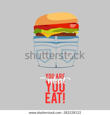Design Illustration Concepts People Eat Fast Food with Style Typography. Vector Illustration. Concepts Web Banner and Printed Materials. Trendy and Beautiful. Text You Are What You Eat - stock vector