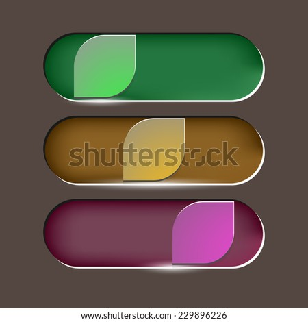 Design leaves button on brown background, stock vector