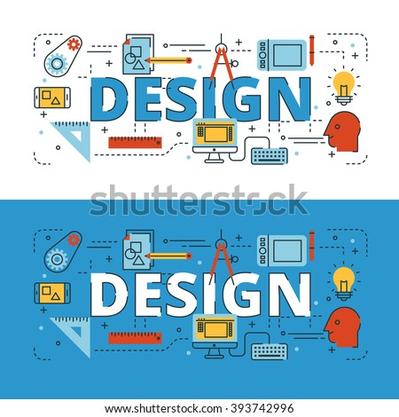 Design lettering flat line design with icons and elements for book cover, report header, presentation,illustration, infographics, printing, website banner and landing page. - stock vector