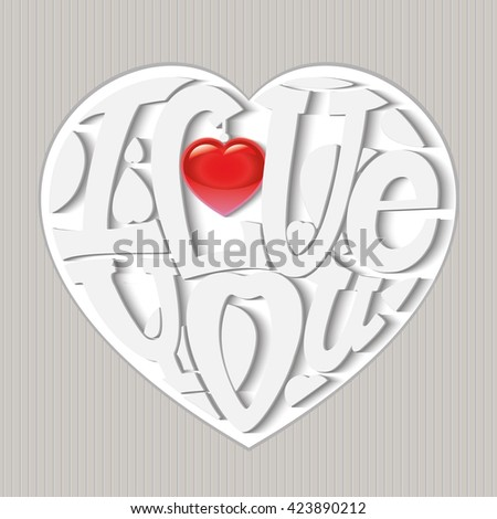 "Design lettering ""I love you."" Hand drawing, an individual font. The composition of the letters in the shape of a heart. Volumetric white letters with a glossy red heart