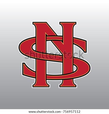 Design Logogram Letters Initial Monogram Fancy Vintage N And S Letter For Company