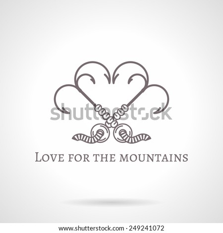Design logotype with gray vintage line style grappling hook with three spikes crossed in heart shape. Vector illustration for rock climbing with words Love For The Mountains for some business. Logo - stock vector