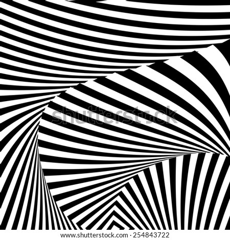 Design monochrome convex movement illusion background. Abstract striped twisting distortion backdrop. Vector-art illustration - stock vector