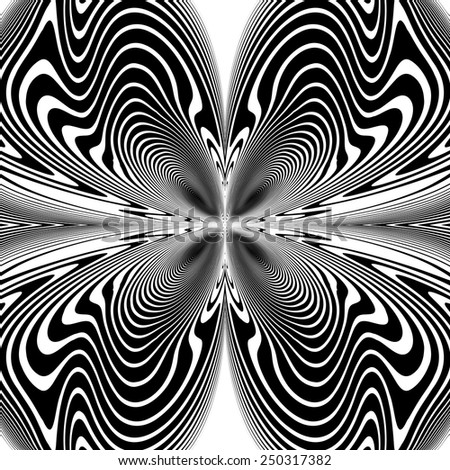 Design monochrome decorative twirl background. Abstract grid textured twisted backdrop. Vector-art illustration. No gradient - stock vector