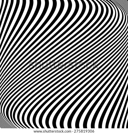 Design monochrome lines movement illusion background. Abstract striped distortion backdrop. Vector-art illustration - stock vector
