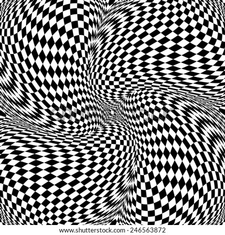Design monochrome motion illusion checkered background. Abstract twisted torsion backdrop. Vector-art illustration - stock vector
