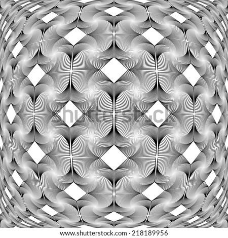 Design monochrome warped grid decorative pattern. Abstract latticed textured background. Vector art - stock vector