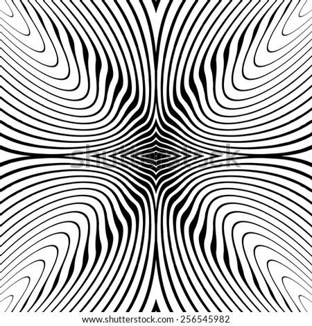 Design monochrome whirl circular motion background. Abstract striped distortion twisted backdrop. Vector-art illustration. No gradient - stock vector