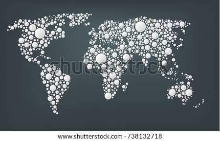 Design dots map world abstract world vectores en stock 738132718 design of a dots map of the world abstract world map made from large white gumiabroncs Gallery