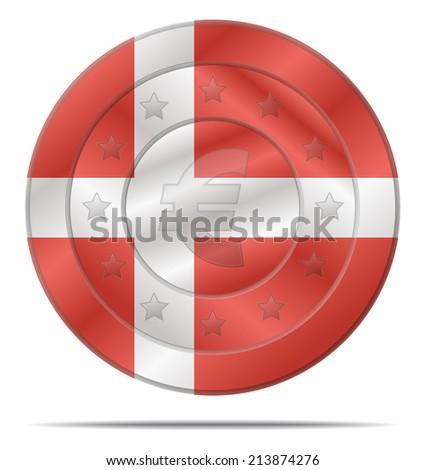 design of a euro coin with the Denmark flag  - stock vector