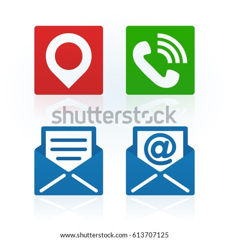 Design Address Phone Email Symbols On Stock Vector 613707125