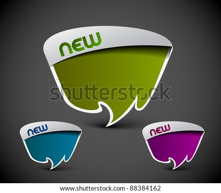 Design of advertisement labels stickers. transparent shadow easy replace background and edit colors. - stock vector