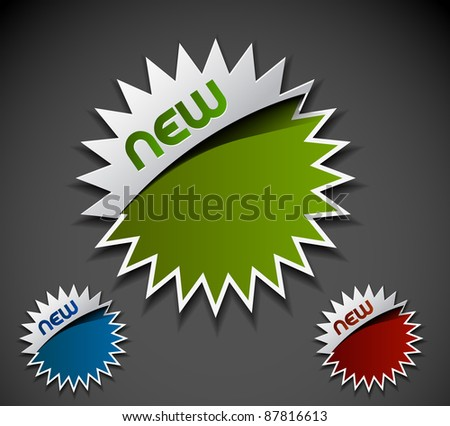Design of advertisement new labels stamps stickers use. - stock vector