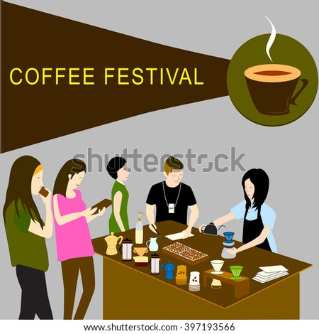 Design of barista competition for coffee drip in coffee festival with staff and colleague in vector illustration. Cartoon in flat style.  - stock vector
