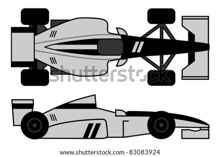 Design of black and gray racing car