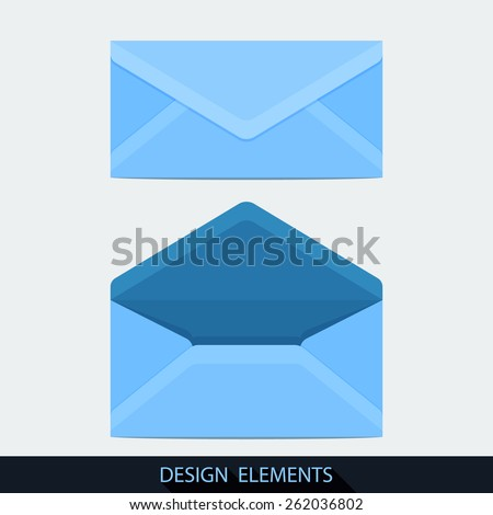 Design of both open and closed envelope in flat style. Vector - stock vector