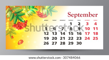 Design of calendar 2016. September.