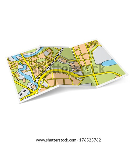 Design of city map booklet on white background