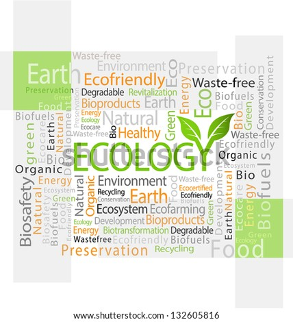 Design of ecology-related tag cloud vector illustration - stock vector